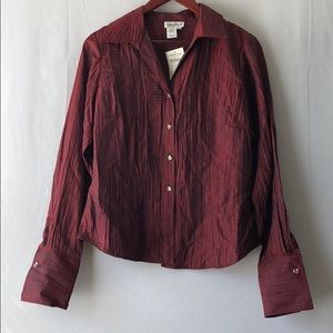 NWT Coldwater Creek Women's Button Down Red Blouse